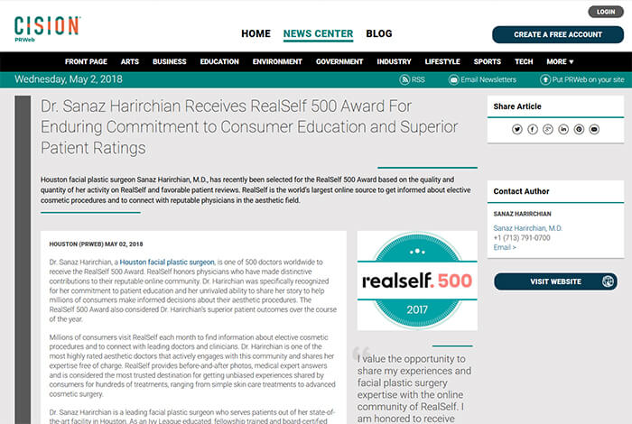 Dr. Sanaz Harirchian Receives RealSelf 500 Award For Enduring Commitment to Consumer Education and Superior Patient Ratings